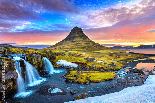 Kirkjufell at sunrise in Iceland. Beautiful landscape. - 203855830