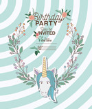 invited birthday party card with unicorn vector illustration design