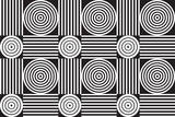 Grayscale geometric seamless background pattern with concentric circles and parallel lines.  Tiled vector pattern of abstract shapes and squares. Neutral shades of black and white.