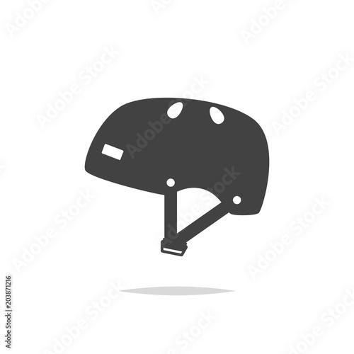 Plexiglas Skateboard Skateboard helmet icon vector isolated
