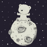 Cute little bear on the moon cartoon hand drawn vector illustration. Can be used for baby t-shirt print, fashion print design, kids wear, baby shower celebration, greeting and invitation card.