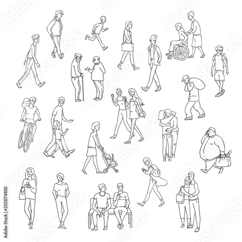 vector sketch walking people urban residents children and adults