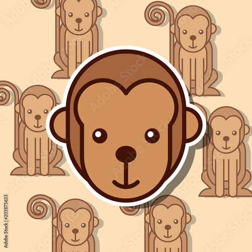 Fridge magnet monkey safari animal african pattern vector illustration
