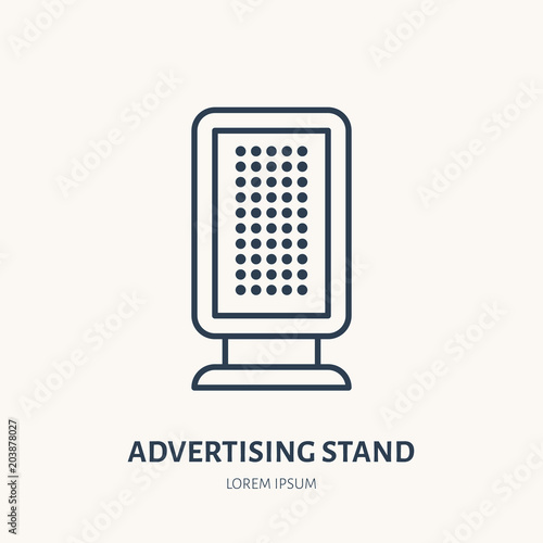 Information stand flat line icon. Outdoor advertising sign. Thin linear logo for street ads, marketing services.