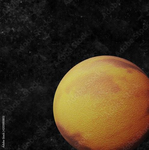 Fototapeta Cracked planet orbiting in space (3D Illustration)