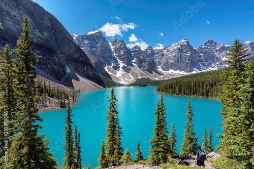 Foto Murales Banff National Park, Canada. Moraine Lake with snow-covered peaks above it in Rocky Mountains.