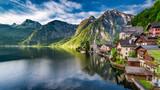 Stunning dawn at mountain lake in Hallstatt, Alps, Austria - 203882871