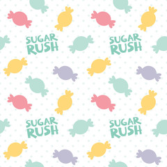 Colorful Candy Silhouette with Sugar Rush Text and Polka Dot Seamless Pattern Isolated on White Vector Illustration © Kristina Jovanovic