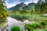Hintersee lake in Alps in spring in sunrise, Germany