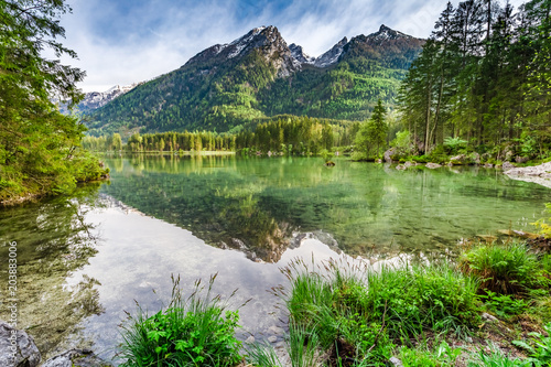 Fototapeta Hintersee lake in Alps in spring in sunrise, Germany