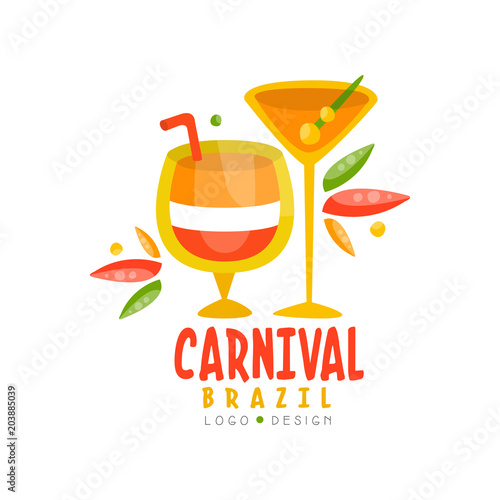 Brazil Carnival logo design, bright fest.ive party banner with cocktails vector Illustration on a white background