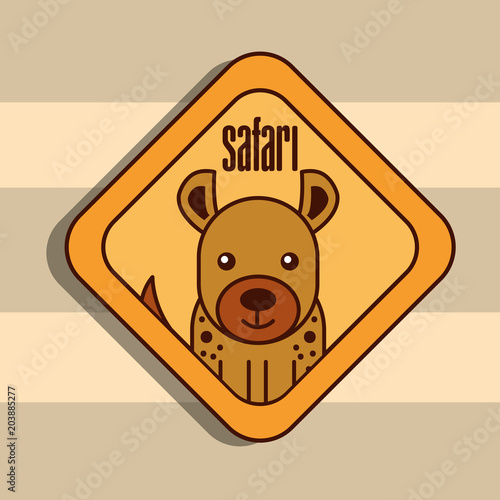 Fridge magnet safari jackal animal zone sign vector illustration