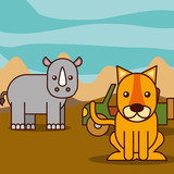 rhino and tiger jeep car safari animals cartoon vector illustration