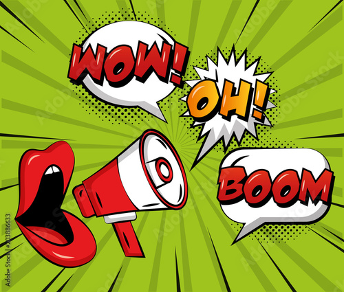 Canvas Pop Art pop art comic woman lips megaphone speech bubbles wow oh and boom vector illustration