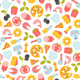 seamless pattern with pizza design elements - 203894492
