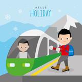 Train Public Railway Mountain Travel Holiday Winter Boy Traveler Cartoon Character Vector