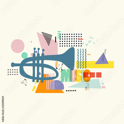 Music colorful background with trumpet vector illustration. Geometric music festival poster, creative trumpet design with word music. Typographic banner © abstract