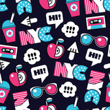trendy seamless vector american pattern with labels - 203898633