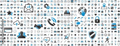 Black and blue web business technology icons set © sdecoret