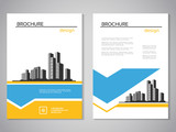 Vector modern brochure, abstract flyer with background of buildings. City scene. Layout template. For A4 size. Poster of blue, yellow and white color. Magazine cover.