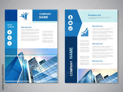 Vector modern brochure, abstract flyer with background of buildings. City scene. Layout template. For A4 size. Poster of blue and white color. Magazine cover.