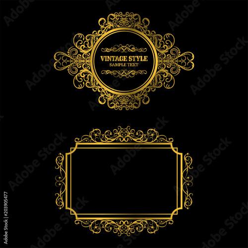 Vector of vintage gold frame decorative