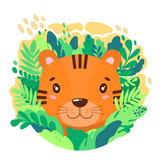 Vector cute tiger face in the jungle. For print on a T-shirt, a picture in the nursery.