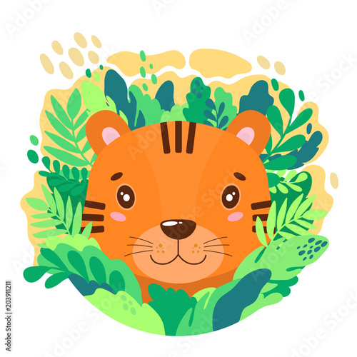 Fototapeta Vector cute tiger face in the jungle. For print on a T-shirt, a picture in the nursery.