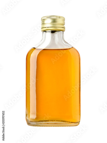 Full bottle of whiskey on white background