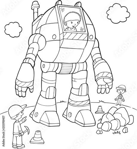 Plexiglas Cartoon draw Robot Construction Worker Vector Illustration Art