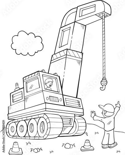Plexiglas Cartoon draw Giant Construction Crane Vector Illustration Art