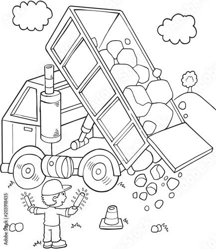 Plexiglas Cartoon draw Cute Construction Dump Truck Vector Illustration Art