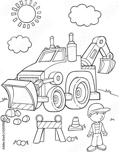 Plexiglas Cartoon draw Cute Construction Digger vehicle Vector Illustration Art