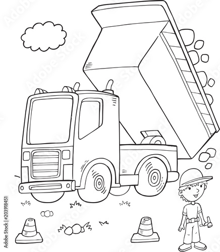 Plexiglas Cartoon draw Cute Dump Truck Construction Vector Illustration Art