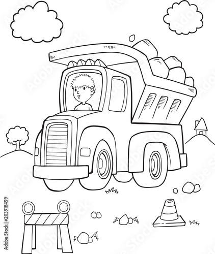 Fotobehang Auto Cute Dump Truck Construction Vector Illustration Art