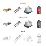 Drawing accessories, metropolis, house model. Architecture set collection icons in cartoon,outline,monochrome style vector symbol stock illustration web. - 203922097