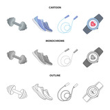 Dumbbell, rope and other equipment for training.Gym and workout set collection icons in cartoon,outline,monochrome style vector symbol stock illustration web. - 203922465