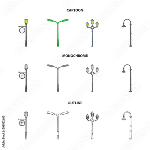 Lamppost in retro style,modern lantern, torch and other types of streetlights. Lamppost set collection icons in cartoon,outline,monochrome style vector symbol stock illustration web.