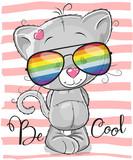 Cute Kitten with sun glasses