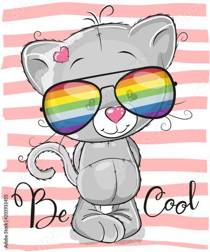 mata magnetyczna Cute Kitten with sun glasses