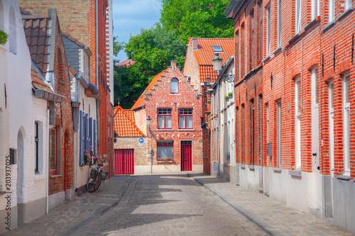 Plexiglas Brugge Street of Brugge, Belgium
