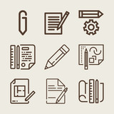 Set of 9 pencil outline icons - 203942810