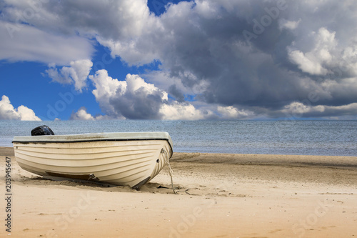 canvas print picture Strand mit Boot