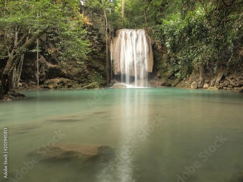 Plexiglas Olijf Beautiful and breathtaking green waterfall, Erawan Waterfall at Kanchanaburi, Thailand