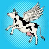 Fototapety Flying cow farm animal pop art vector illustration