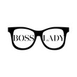 Sunglasses with words boss lady on a white background. Fashion Modern Stylish Black woman Glasses. Vector illustration isolated on white background