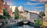 View on Ljubljanica river with old building in Ljubljana city in Slovenia. - 203955451