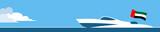Motor boat with united arab emirates flag - 203964046