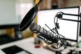 Condenser microphone in recording studio. - 203966693