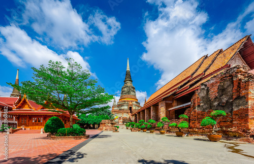 Plexiglas Thailand A pagoda of Wat Yai Chaimongkol Temple is the famous Temple in Ayutthaya, Thailand.